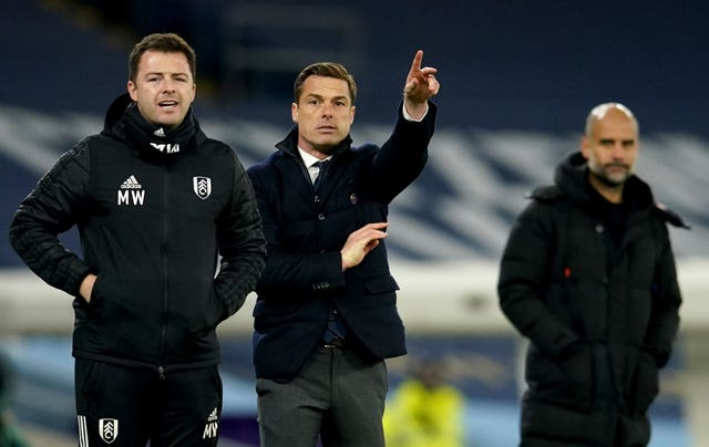 Fulham manager Scott Parker, centre, was pleased with his side's spirit
