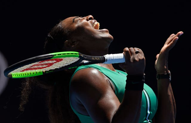 Serena Williams reacts after losing a point during her stunning defeat by Karolina Pliskova