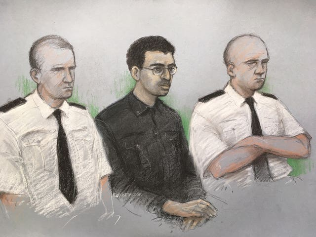 Court artist sketch of Hashem Abedi, younger brother of the Manchester Arena bomber