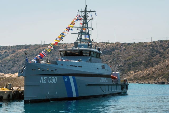 The Gavdos 090 vessel was reportedly rammed by a Turkish coastguard boat (Greek CoastguardAP)