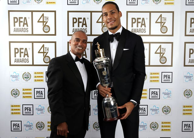 Bobby Barnes, left, pictured with Virgil Van Dijk at last year's PFA player of the year awards