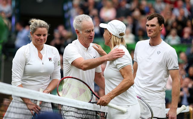 Jamie Murray, right, teamed up with Martina Navratilova to take on John McEnroe and Kim Clijsters under Court One's new roof