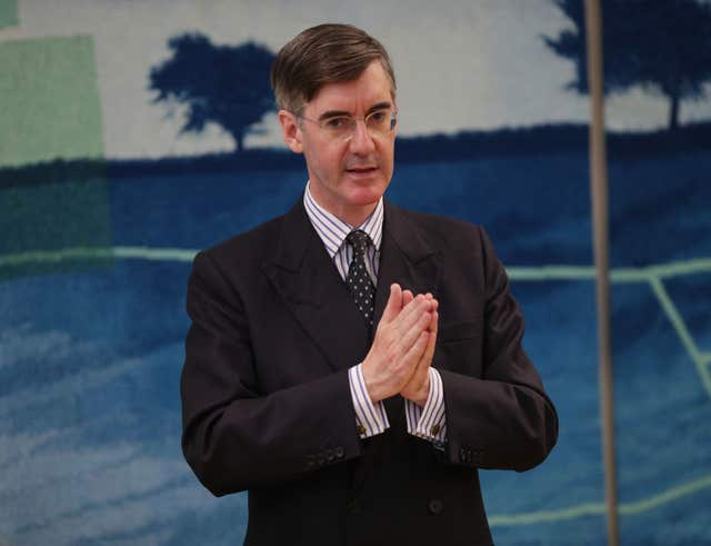 Jacob Rees-Mogg MP speaking to supporters during a Conservative Voice meeting, in the Boothroyd Room at Portcullis House, London. (Yui Mok/PA)