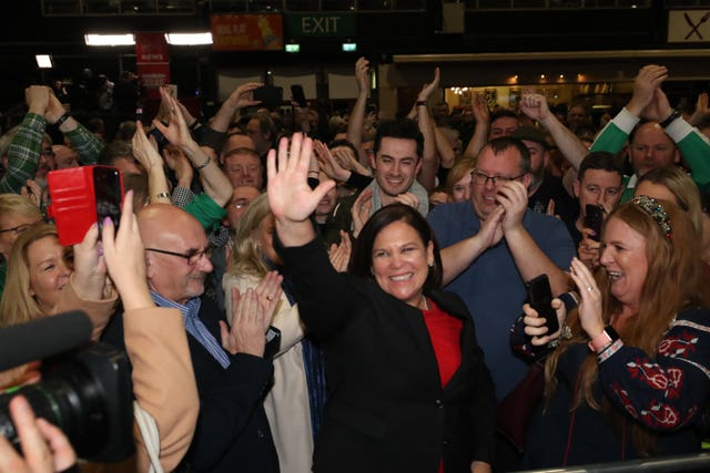 Sinn Fein leader Mary Lou McDonald celebrates success at the RDS in Dublin