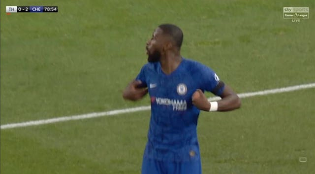 A screengrab taken from Sky Sports Premier League of Chelsea defender Antonio Rudiger gesturing during the Premier League match at Tottenham Hotspur Stadium