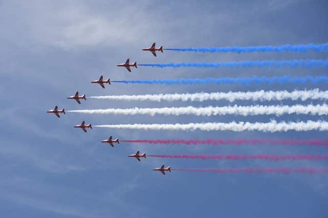 RAF Red Arrows during a flypast over Buckingham Palace, in central London, following the Trooping the Colour ceremony at Horse Guards Parade as the Queen celebrates her official birthday. (Image: PA)