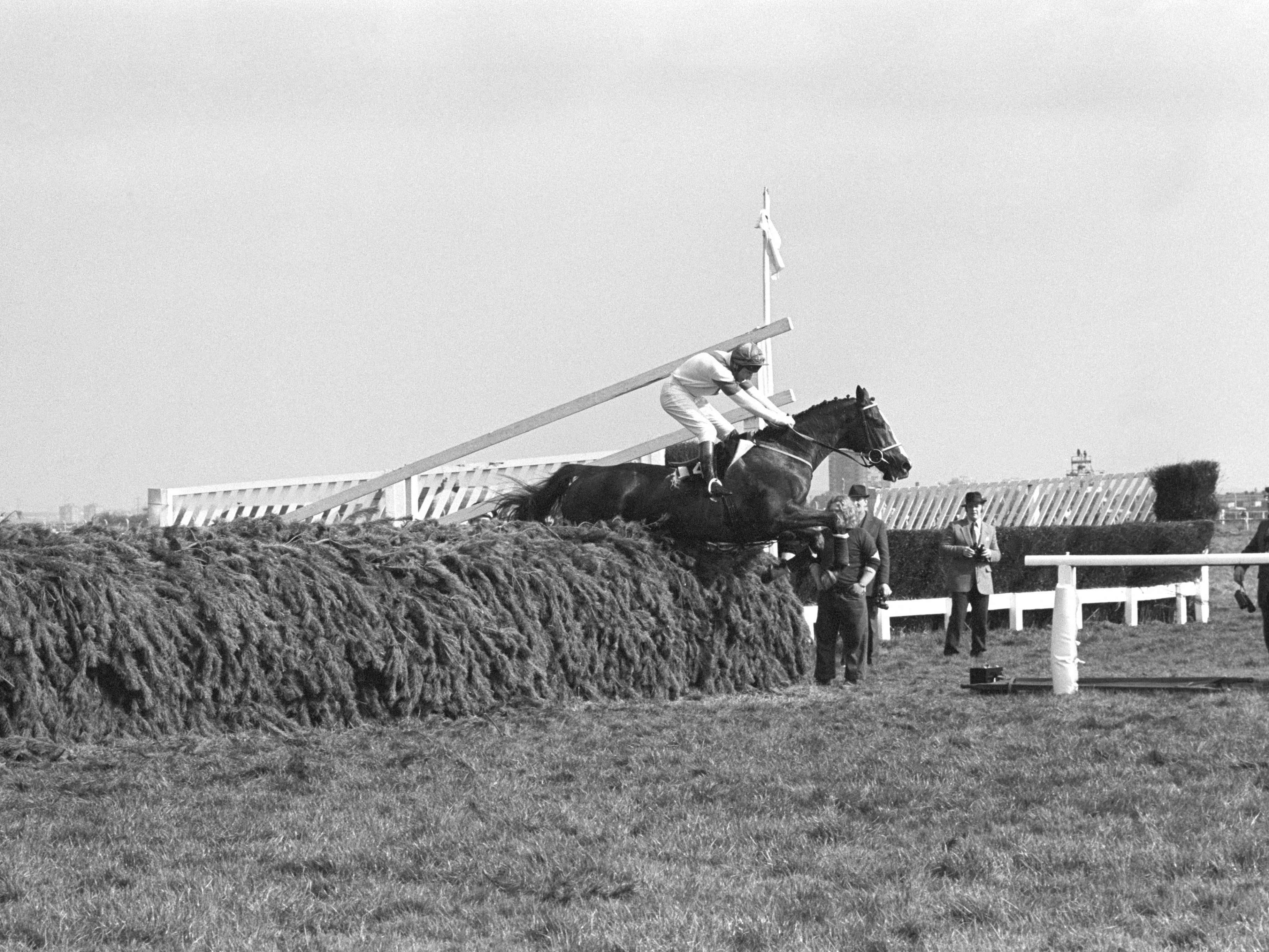Aldaniti and Bob Champion take the last fence as they head for a fairytale success in the Grand National (PA)