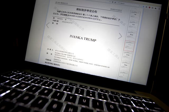 A document from the website of China's Trademark Office of the State Administration for Industry and Commerce showing provisional approval of a trademark for Ivanka Trump Marks LLC is seen on a computer screen in Beijing
