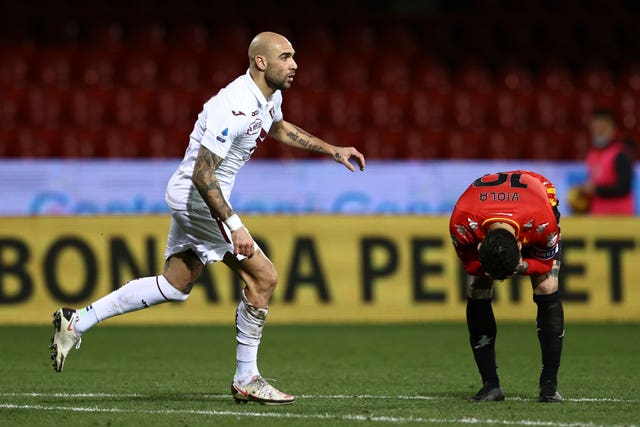 Simone Zaza, left, celebrates his equaliser
