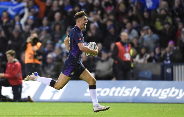 Adam Hastings scored his first Scotland's try against Fiji earlier this month