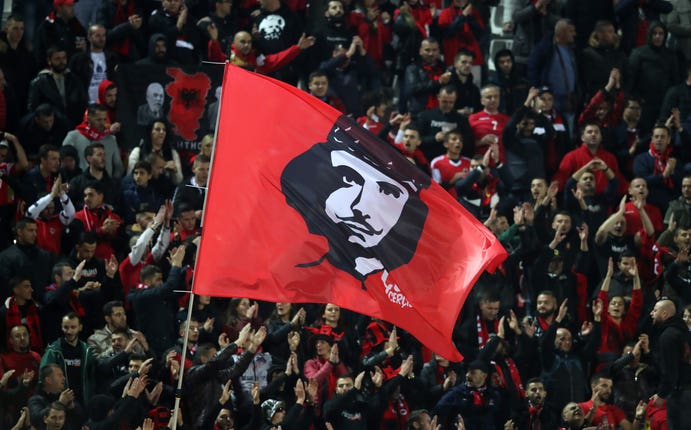 Albania fans made their feelings known when the wrong national anthem was played
