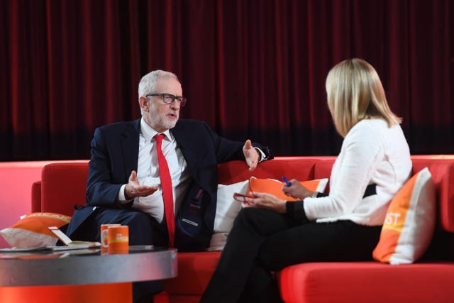 Labour leader Jeremy Corbyn speaking to Louise Minchin on BBC Breakfast