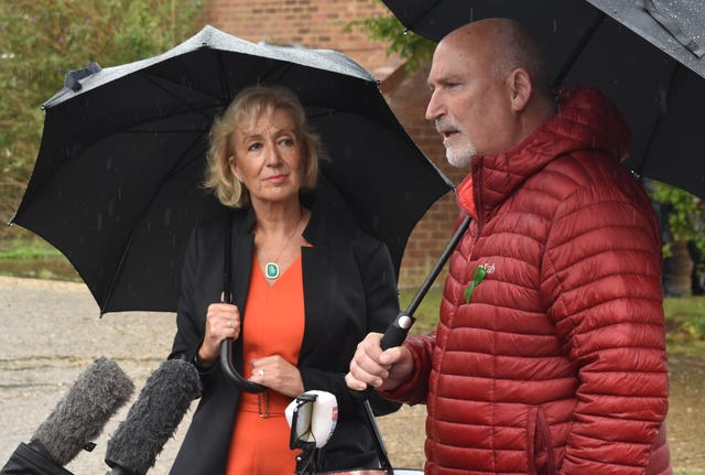 Andrea Leadsom MP and Harry Dunn family spokesman Radd Seiger speak to the media in Brackley, Northamptonshire