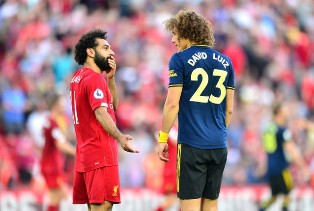 Mohamed Salah, left, got the better of David Luiz on Saturday