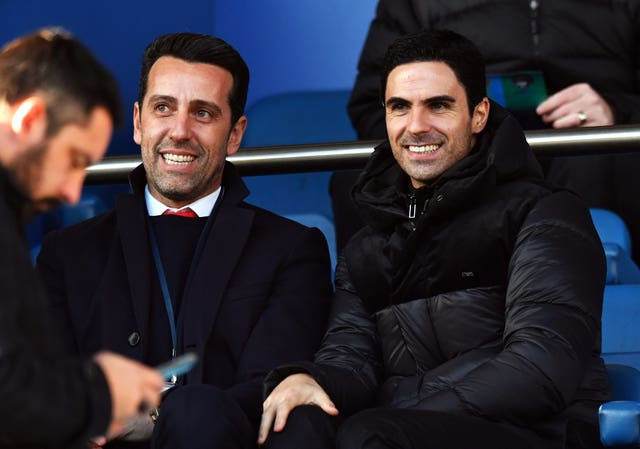 New Arsenal boss Arteta (right) sat with technical director Edu in the stands