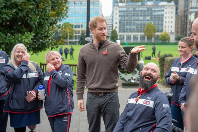 Harry with members of Team UK, the nation's current Invictus Games squad. Paul Grover/Daily Telegraph