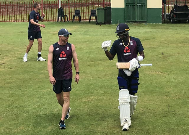 Jofra Archer (right) too part in a net session in Centurion on Monday.