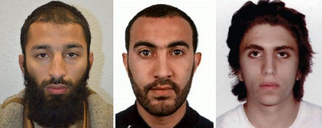 From left, Khuram Shazad Butt, Rachid Redouane and Youssef Zaghba (Metropolitan Police/PA)