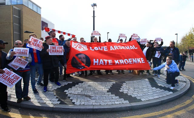 There have been protests from Arsenal fans for several years against the Kroenke leadership