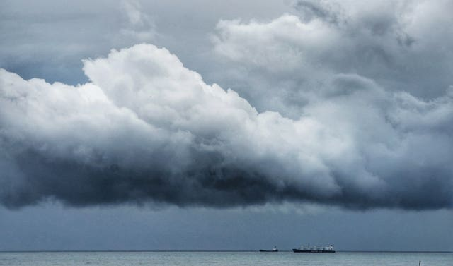 Dark storm clouds gather off the North East coast