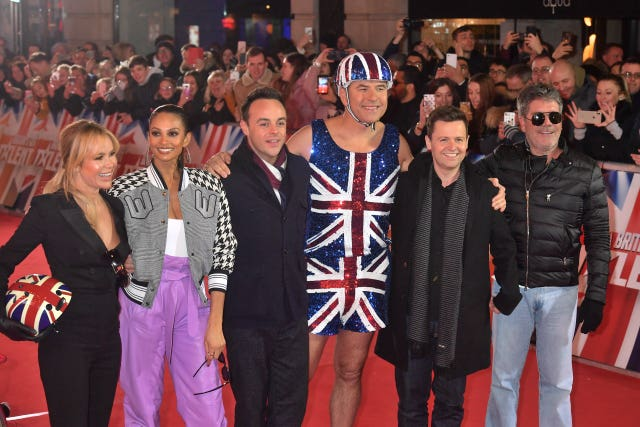 Judges Amanda Holden, Alesha Dixon, Anthony McPartlin and David Walliams, alongside presenters Anthony McPartlin and Declan Donnelly (John Stillwell/PA)