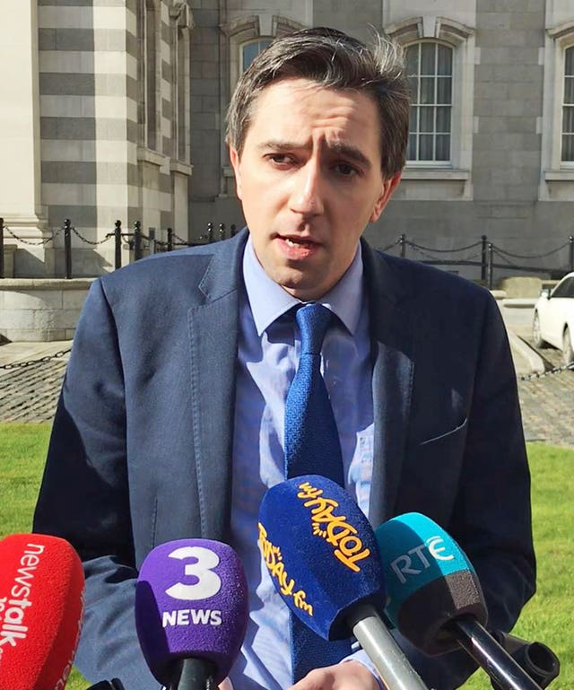 Health Minister Simon Harris spoke outside Government Buildings in Dublin following the ruling (Michelle Devane/PA)