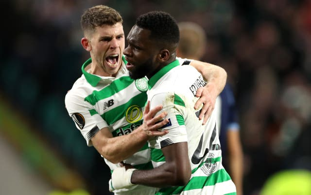 Ryan Christie celebrates his equaliser with Odsonne Edouard