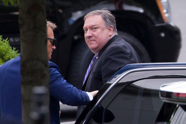 Secretary of state Mike Pompeo arrives for a meeting with President Donald Trump about Iran at the White House