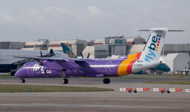A Flybe airplane on the runway