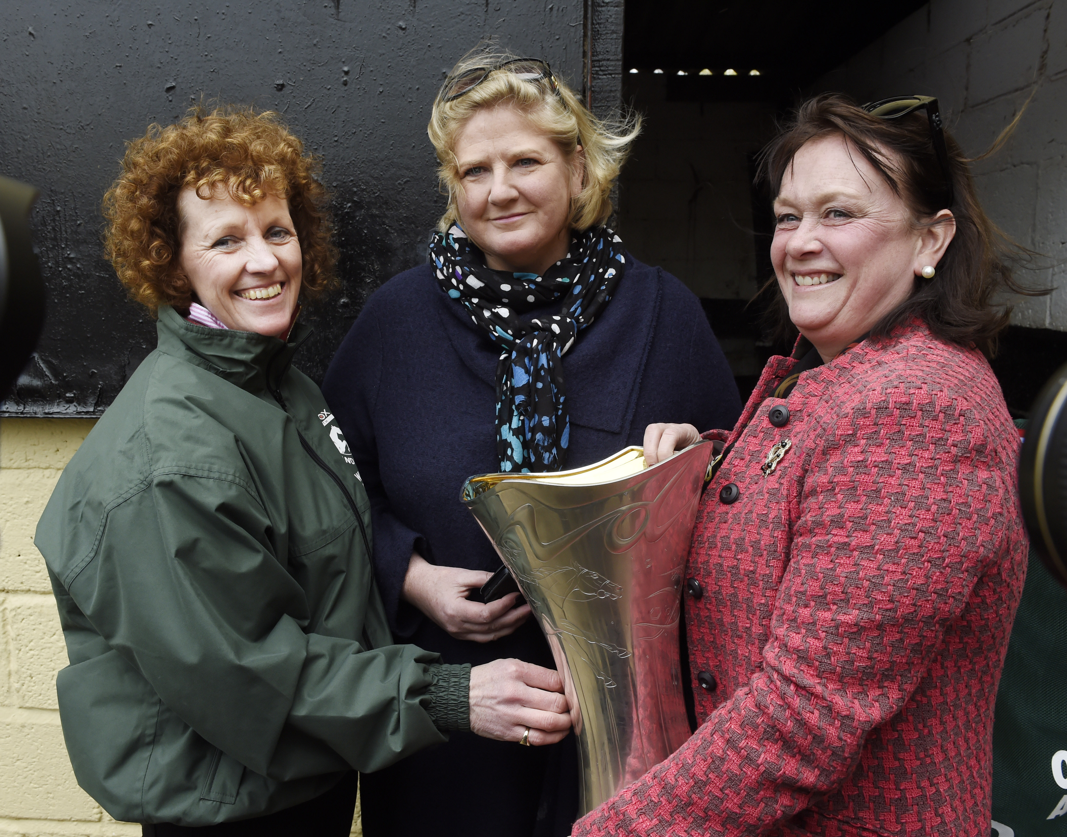 One For Arthur's owners Balinda McClung (centre) and Debbs Thomson pictured with Lucinda Russell