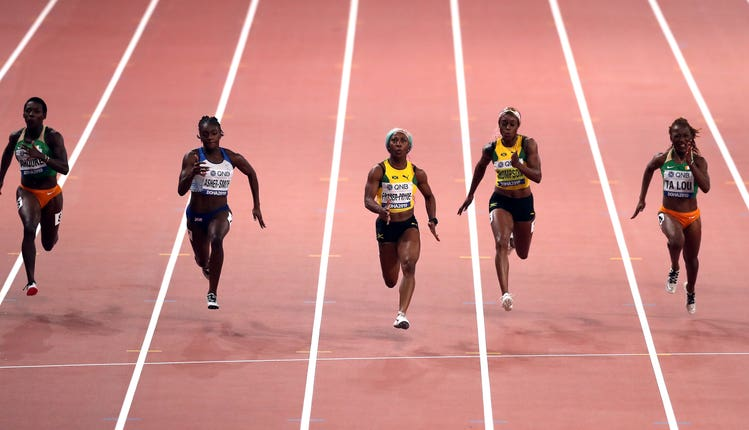 Dina Asher-Smith, second left, finished second