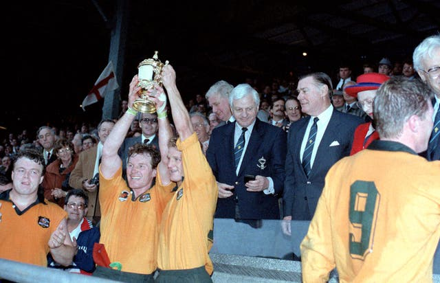 Australia beat England on home turf to take the 1991 Rugby World Cup at Twickenham with a 12-6 victory. The triumph was their first World Cup title