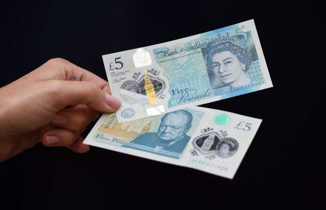 The new polymer £5 note featuring Sir Winston Churchill (PA)