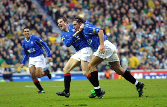 Lorenzo Amoruso, right, celebrates his goal for Rangers with team-mate Barry Ferguson