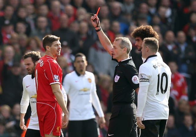 Gerrard was sent off just seconds after coming off the bench in what would be his last appearance against Manchester United.