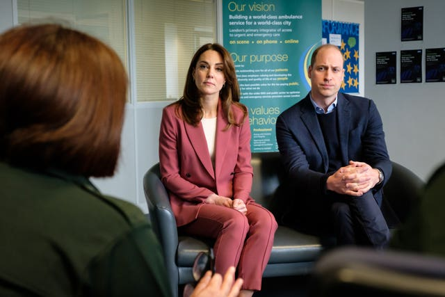 William and Kate pictured during a recent visit to the London Ambulance Service 111 call centre in South London to learn about their response to the coronavirus. PA Wire