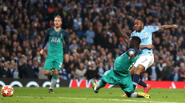 Sterling scores what appears to be a fifth for City winner in injury time, sparking scenes reminiscent of their last-gasp Premier League title win in 2012