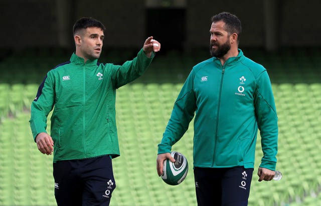 Ireland head coach Andy Farrell, right, has named Conor Murray on the bench for the second successive week