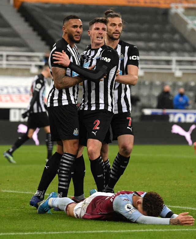 Newcastle's Jamaal Lascelles (left) celebrates scoring the equaliser