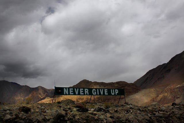 A banner erected by the Indian army stands near Pangong Tso lake near the India-China border in India's Ladakh area (Manish Swarup/AP)