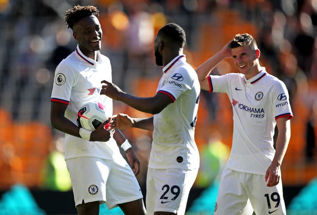 Tammy Abraham, Fikayo Tomori and Mason Mount, l-r