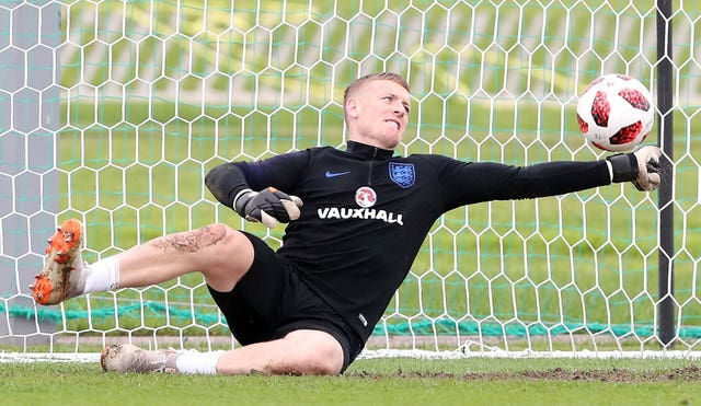 England goalkeeper Jordan Pickford during the training session at the Spartak Zelenogorsk Stadium