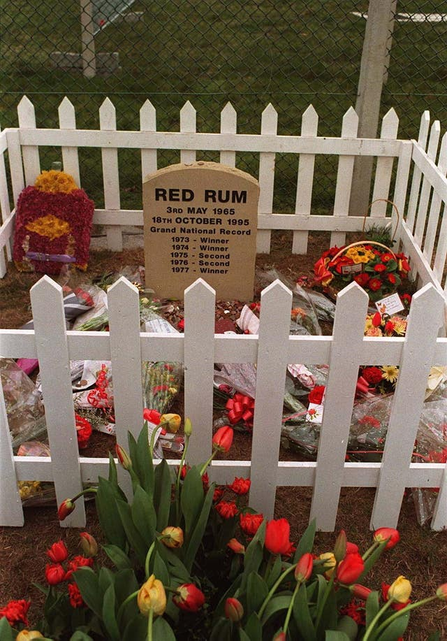Red Rum's grave at Aintree