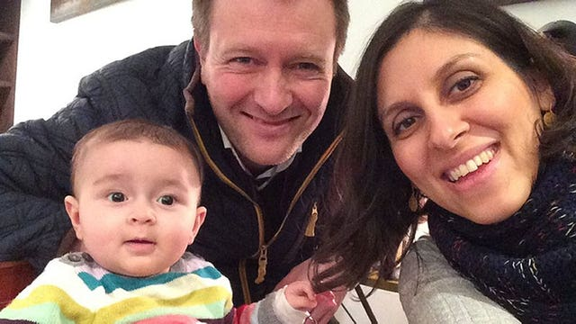 Jailed British mother Nazanin Zaghari-Ratcliffe with her husband Richard Ratcliffe and their daughter Gabriella (Family Handout/PA)