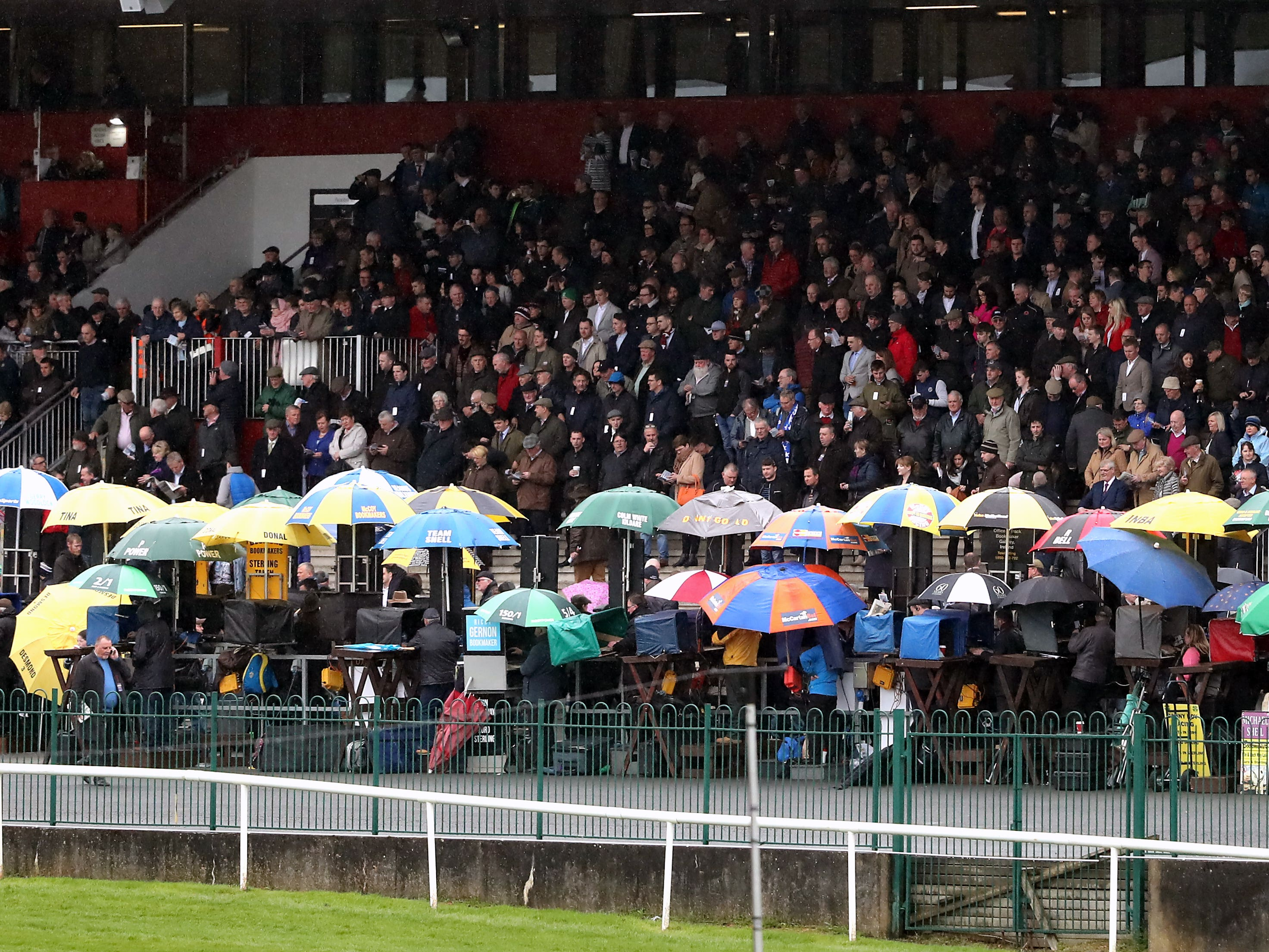 A general view of racegoers in the grandstand at Punchestown (Niall Carson/PA)