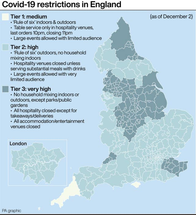 PA infographic showing Covid-19 restrictions in England
