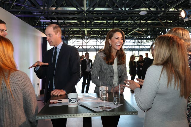 The Duke and Duchess of Cambridge during a volunteer celebration at the Troubadour White City Theatre