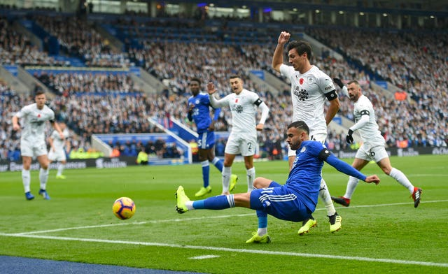 Leicester's Rachid Ghezzal was denied by the crossbar (Joe Giddens/PA).