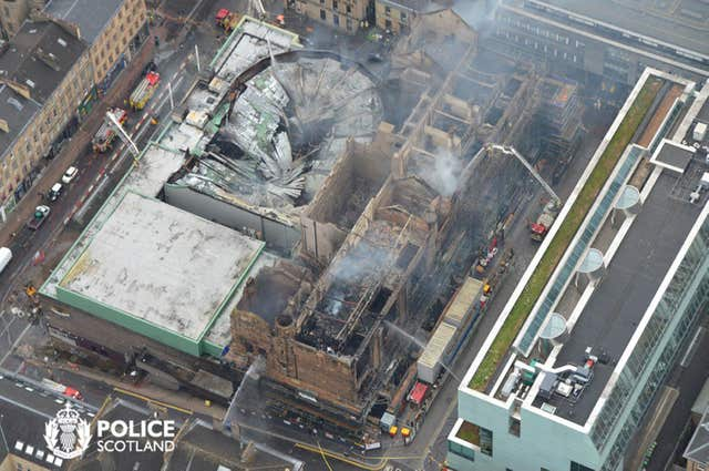 An aerial view of damage following the fire at the historic Mackintosh Building (Police Scotland Air/PA)