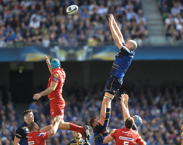 Toner, top right, wins a line-out for Leinster